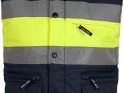 Chaleco acolchado alta visibilidad marino con franja amarilla My895.jpg