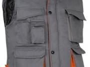 Chaleco bicolor acolchado multibolsillos gris naranja.jpg