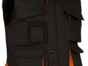 Chaleco bicolor acolchado multibolsillos negro naranja.jpg