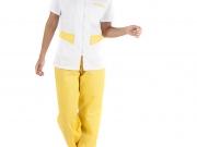 Conjunto entallado cuello camisero cremallera blanco y amarillo