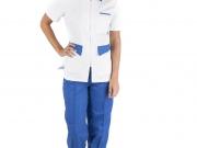 Conjunto entallado cuello camisero cremallera blanco y azulina