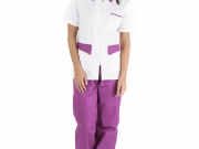 Conjunto entallado cuello camisero cremallera blanco y violeta