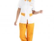 Conjunto entallado cuello camisero cremallera blanco y naranja