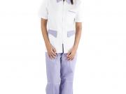Conjunto entallado cuello camisero cremallera blanco y lila