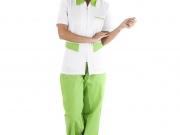 Conjunto entallado cuello camisero cremallera blanco y verde