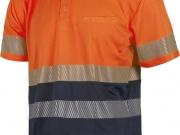 Polo manga corta  banda discontinua alta visibilidad naranja con marino My 4841.jpg