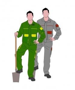 Pantalon y cazadora de trabajo bicolor. Ropa de trabajo