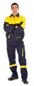 Conjunto pantalon de trabajo multibolsillos y cazadora de trabajo fabricacion especial marino y amarillo