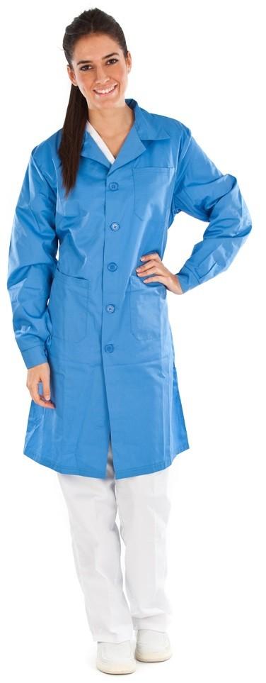 Bata unisex color azul conjunto sanitario, ropa laboral, ropa de trabajo, clinica, farmacia, estetica