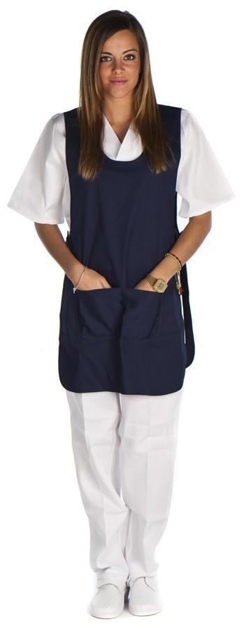Casulla con ajustes laterales y bolsillo central color marino conjunto sanitario, ropa laboral, ropa de trabajo, clinica, farmacia, estetica
