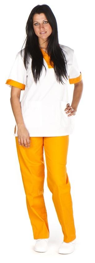 Conjunto cuello curvo blanco vivo grueso naranja conjunto sanitario, ropa laboral, ropa de trabajo, clinica, farmacia, estetica