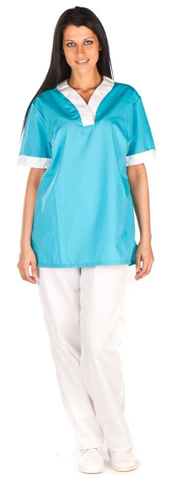 Conjunto cuello curvo turquesa vivo grueso blanco sin bolsillo conjunto sanitario, ropa laboral, ropa de trabajo, clinica, farmacia, estetica