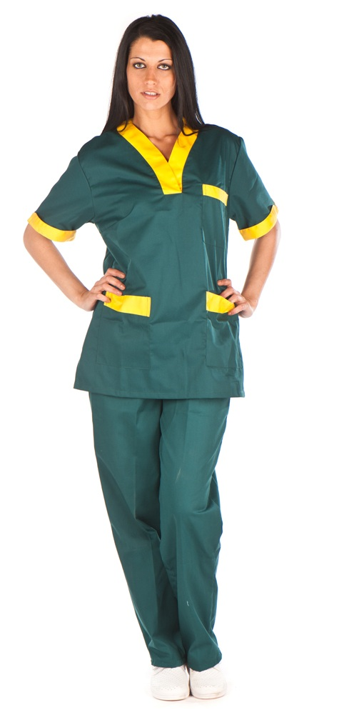 Conjunto cuello curvo verde vivo grueso amarillo conjunto sanitario, ropa laboral, ropa de trabajo, clinica, farmacia, estetica