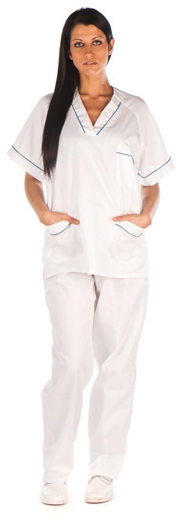 Conjunto unisex cuello pico blanco vivos cordon conjunto sanitario, ropa laboral, ropa de trabajo, clinica, farmacia, estetica